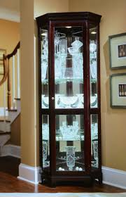 curio cabinet vintage brass etched glass mirrored display case