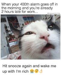 Rich Cat Meme - when your 400th alarm goes off in the morning and you re already 2