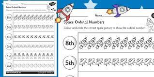 themed ordinal numbers worksheet space numbers order