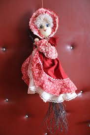 vintage lucky kitchen witch doll witch figurine flying