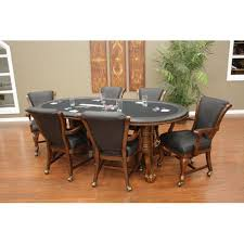 Poker Table Chairs American Heritage High Stakes Oval Poker Table Set Walmart Com