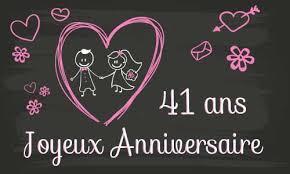 41 ans de mariage carte anniversaire mariage 41 ans tableau