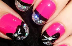 glitzy pink bow nails youtube