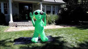 Halloween Outdoor Inflatables by Morbid Airblown Halloween Inflatable Lighted Green Alien 5 Ft