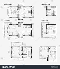 layout of floor plan set black white architectural plans house stock vector 735113665