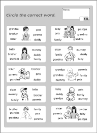 family vocabulary for kids learning english printable resources
