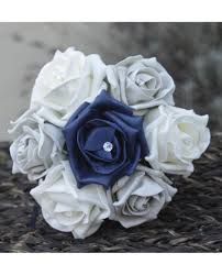 silver flowers navy silver childs bouquet of navy blue and silver grey