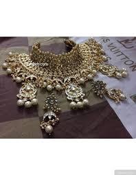 bridal choker necklace images Luxurious polki kundan bridal choker necklace and earrings set jpeg