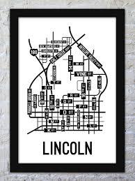 Nebraska On A Map Lincoln Nebraska Street Map Print Street Posters