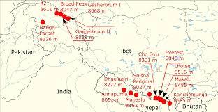 Himalayan Mountains Map Achttausender U2013 Wikipedia