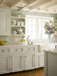 shabby chic antique white kitchen cabinets with glaze and wooden