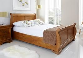 Light Wood Bedroom Louie Wooden Sleigh Bed Oak Finish Light Wood Wooden Beds