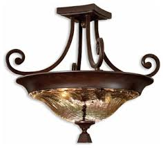 Uttermost Bathroom Lighting Elba 2 Light Glass Semi Flushmount Traditional Bathroom