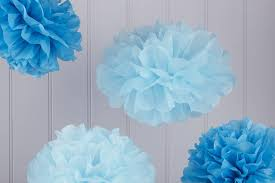 tissue paper decorations pack of five blue tissue paper pom poms by