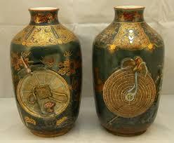 Japanese Kutani Vases Pair Of Japanese Kutani Vases By Watano Item 1136096