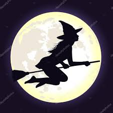 young halloween background black silhouette of witch flying on broomstick with moon u2014 stock