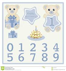 baby boy birthday card gift card birthday cake and candle vector