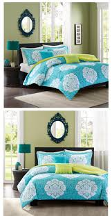 teal blue green damask scroll bedding teen twin xl full queen