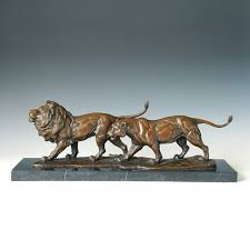 lions statues atlie bronzes gifts brass lion lover sculptures bronze