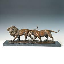 lions statues atlie bronzes gifts brass lion lover sculptures bronze