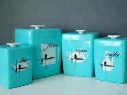 kitchen canisters sets blue and ivory kitchen canisters set of 4