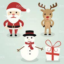 christmas santa claus rudolph reindeer snowman cute character