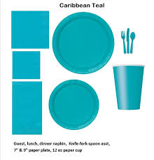 caribbean teal tableware plastic and paper plates napkins cups