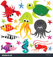 colorful cute cartoon sea creatures vector stock vector 288209585