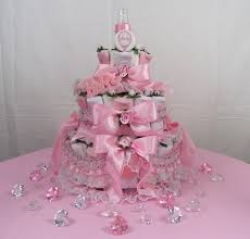 Baby Shower Table Centerpieces by Baby Shower Table Decorations 3 Tier Girls Diaper Cake Front View