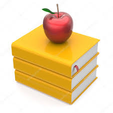 books yellow apple red textbooks bookmark stack icon u2014 stock photo