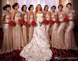 wedding dresses for of honor gold mermaid cheap bridesmaid dresses 2018 sequins