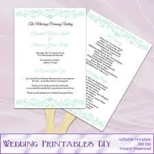 Paddle Fan Program Template Diy Wedding Program Templates Word