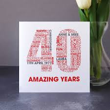 what is 40th wedding anniversary personalised ruby 40th wedding anniversary card by mrs l cards