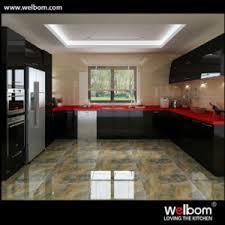 Red Gloss Kitchen Cabinets China 2016 Welbom Black And Red Modern High Gloss Kitchen Cabinet