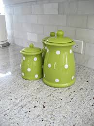 colored kitchen canisters green polka dot canister set adds a pop of color to the
