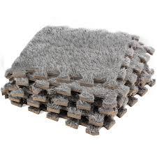 Checkerboard Area Rug Carpet Interlocking Floor Tiles Plush Carpet Area Rug Puzzle Floor