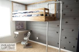 Build Bunk Bed Industrial Loft Bed With Rock Wall And Fireman S Pole