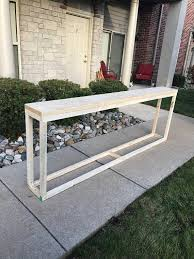 meuble derriere canapé longue console table étroite table console bois naturel