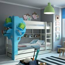 kids triple bunk bed with tree bookcase in white u0026 blue cuckooland