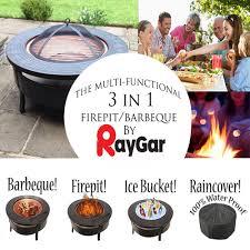 Bbq Firepit Raygar Multifunctional 3 In 1 Metal Garden Pit Bbq