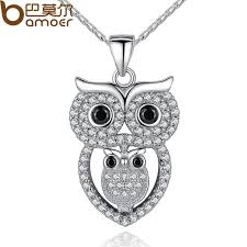 vintage owl necklace jewelry images Bamoer vintage owl pendant necklace with aaa austrian zircon white jpg