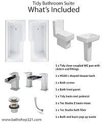 L Shaped Shower Bath Tidy Bathroom Suite L Shaped Shower Bath Toilet Basin And Pedestal