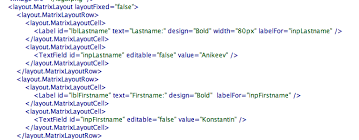 matrix layout xml view how to add space into layout
