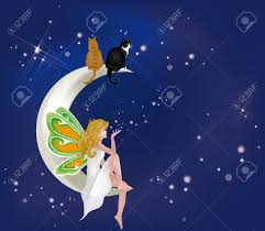 Beautiful Fairies by Beautiful Fairy Sitting On Moon With Two Cats Royalty Free