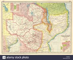 Map East Africa by East Africa Rhodesia Mozambique Nyasaland Bulawayo Stock Photo
