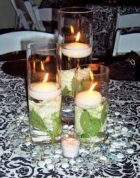 Bulk Cylinder Vases 3 Glass Cylinder Vases With Floating Candles Surround By Glass