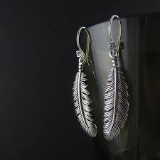 silver feather earrings feather earrings antique silver feather earrings pinktiger