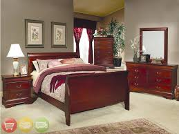 Louis Philippe Traditional Cherry Queen Sleigh Bed  Piece Bedroom - Bordeaux 5 piece queen bedroom set