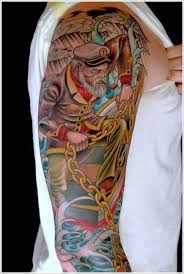colorful nautical tattoos on both sleeves ideas