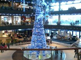 full lights of christmas tree in